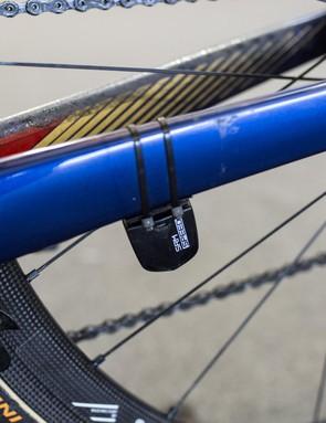 Arashiro's SRM speed sensor is zip-tied to the chainstay