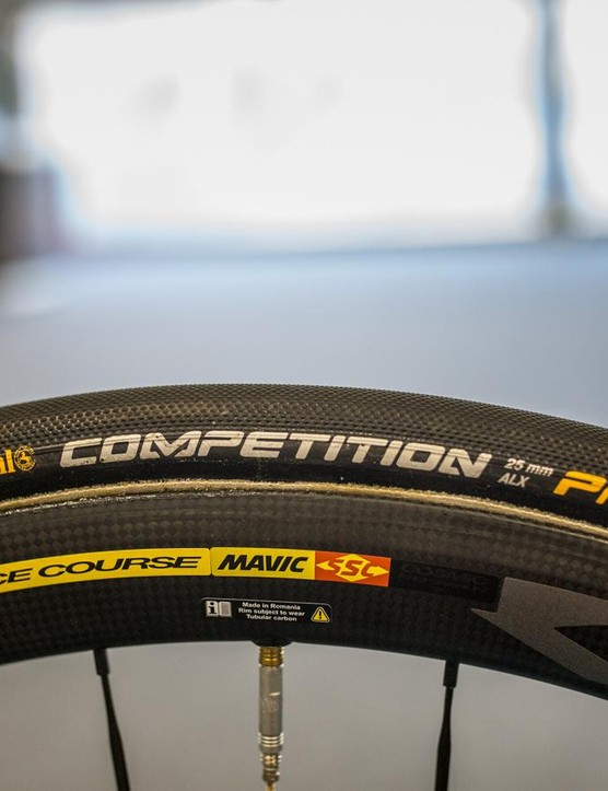 Like the majority of the peloton, AG2R runs Continental Competition 25mm tubular tyres