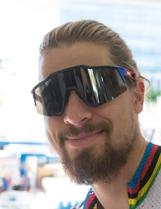 Recently being picked up by eyewear brand 100%, Sagan was wearing a pair of custom sunnies too, featuring the rainbow bands