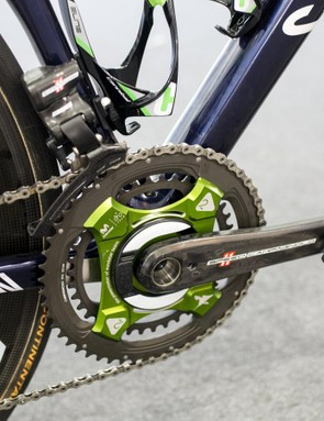 The bike is equipped with a Power2Max power meter