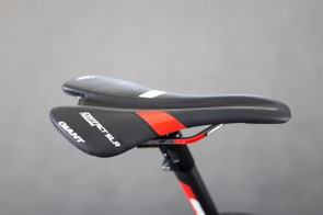 Kelderman's saddle of choice is Giant's Contact SLR Forward, complete with the pressure relieving channel