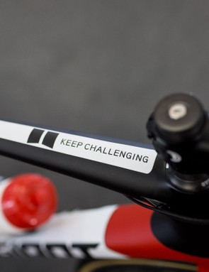 A few of the teams this year have motivational slogans just behind the steerer