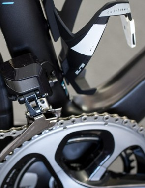 Shimano has made the Di2 front derailleur sleeker looking, but with the all black motif the new group has a very Darth Vader and the Dark Side aesthetic to it