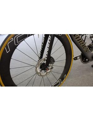 A close-up look at the disc brake system on the bike Peter Sagan has been riding in Australia