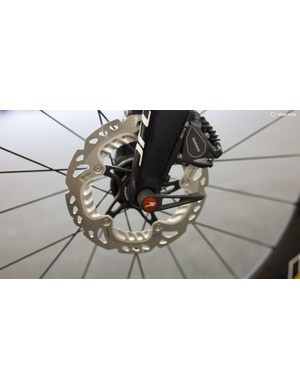 A close-up look at the front disc brake