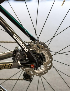 140mm rotors on the rear wheel for the World Champion