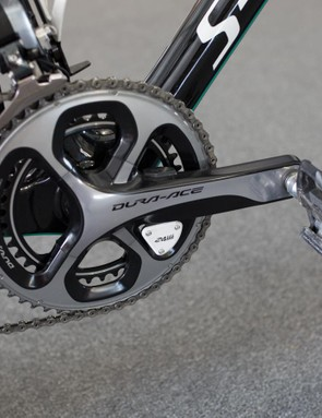 The Dura-Ace crankset is equipped with a 4iiii power meter