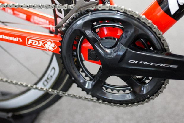 A few of the FDJ team bikes feature Shimano's new crank based power meter