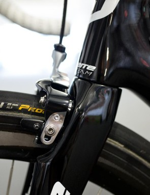 A profile view of the direct mount brakes