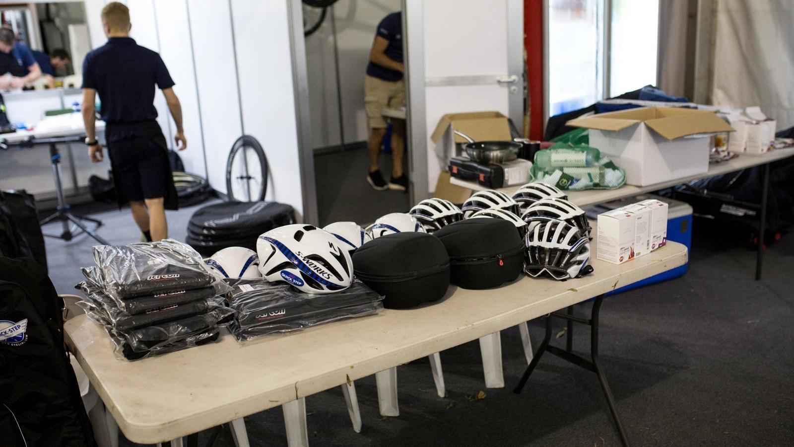 Helmets? Check! Aero helmets? Check? Podium clothes? Check! Street clothes? Check!