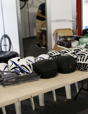 Helmets? Check! Aero helmets? Check? Podium clothes? Check! Street clothes? Check!