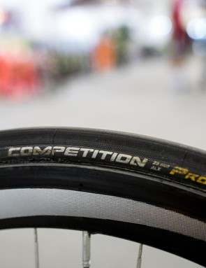 Continental Competition 25mm tubular tyres seem to be the number one choice in the peloton