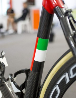 While Swift's bike is very Italian, the seat tube features the UAE's colors
