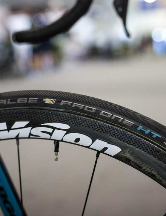 Vision wheels are partnered with Schwalbe Pro One HT tubular tyres