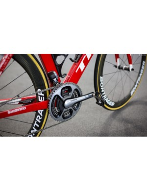 Trek-Segafredo is sponsored by SRM, and Pantano was using a SRM Dura-Ace 9000 crankset and 53-39T chainrings