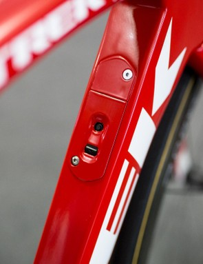 The Madone 9 series frames hide the Di2 junction box in the down tube