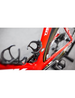 Pantano was running Trek's Bat bottle cage. It's plastic and simple, but also known for holding bottles tight