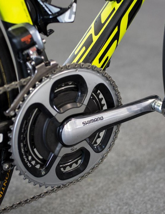 Ewan uses a SRM powermeter on his race bike