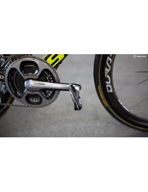 Ewan is using Shimano's carbon Dura-Ace pedals