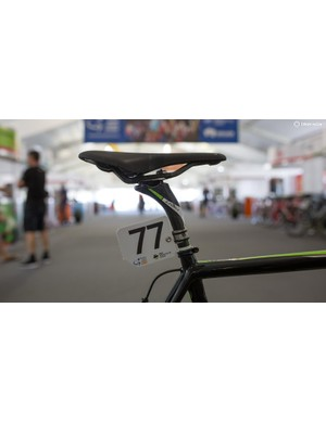 Under the saddle is an FSA K-Force carbon seat post
