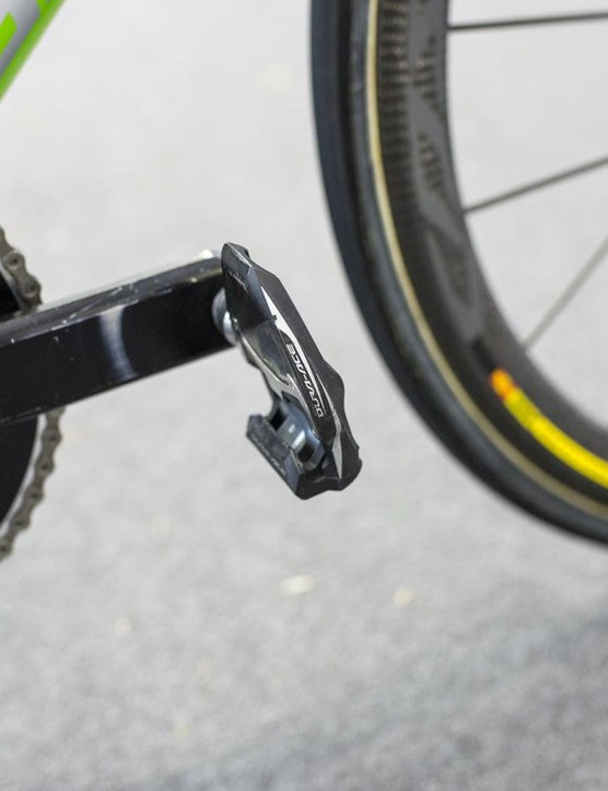 Despite his crank being a bit worn, Howes' Dura-Ace pedals are in pretty good shape