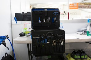 The travelling tool box of Fred Bassy, mechanic at Cannondale-Drapac
