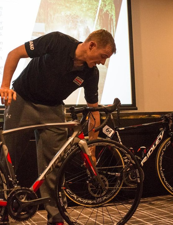 Adam Hansen was on hand to walk us through the bike and give his opinion on disc brakes
