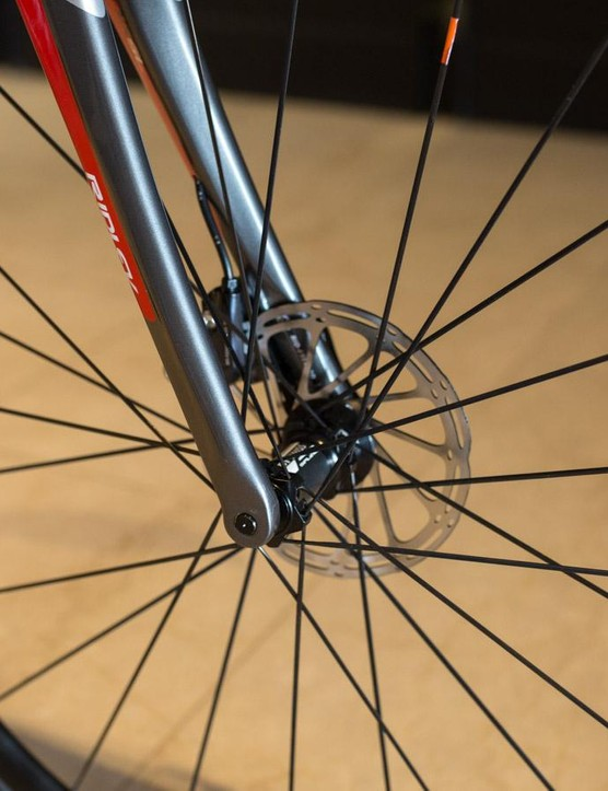 The fork sees 12mm thru-axles and a 160mm disc brake