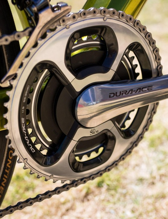 At the front Van Avermaet is running a SRM power meter