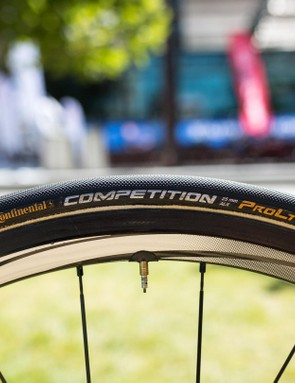 Like the majority of the peloton, Van Avermaet is running Conti Competition 25c tubulars