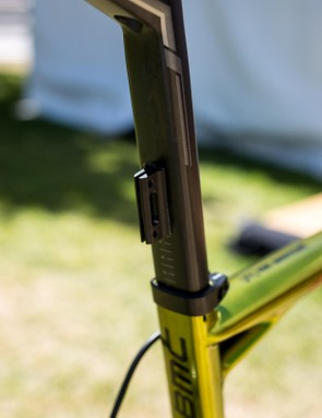 With a square seatpost, BMC uses adhesive number plate holders