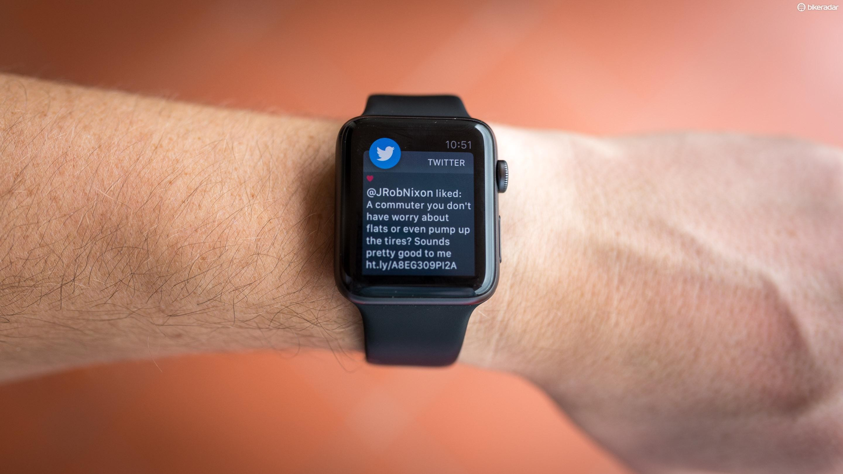 The watch shows notifications just like your phone does, but you can pick and choose which apps you want it to show