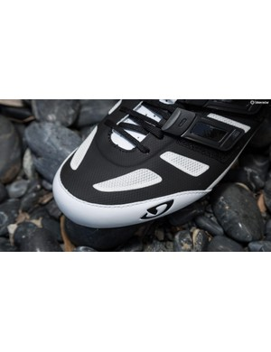 The black part of the upper is Giro's Exofiber, which is microfibre welded to a mesh base that gives the shoe some shape, prevents stretching and repels water