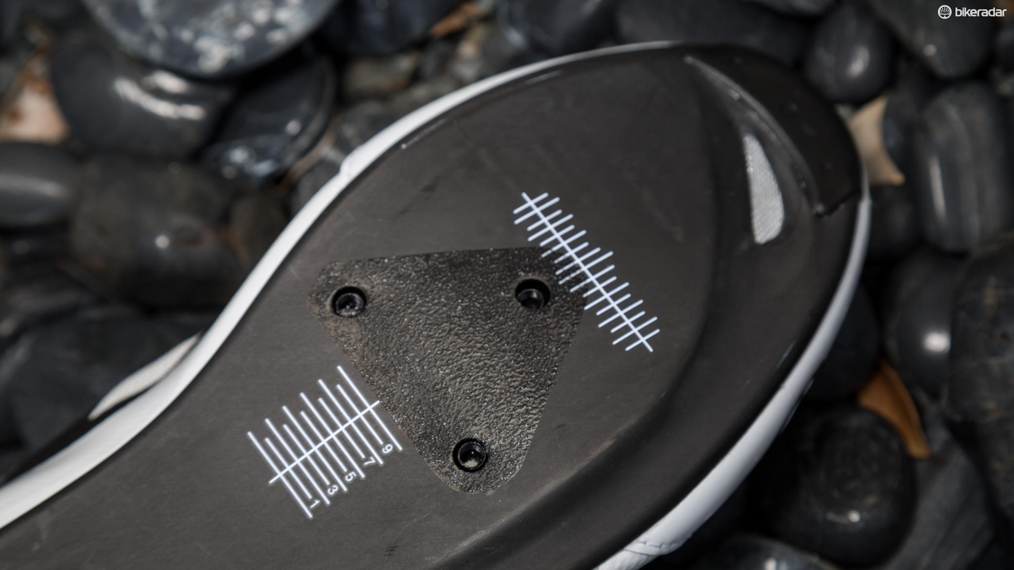 Giro puts its mounting hardware a bit further back than most shoe brands