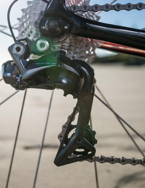 The new Dura-Ace R9170 Di2 derailleur wraps further around the cassette than the previous version and makes it a bit harder to get the wheels in and out