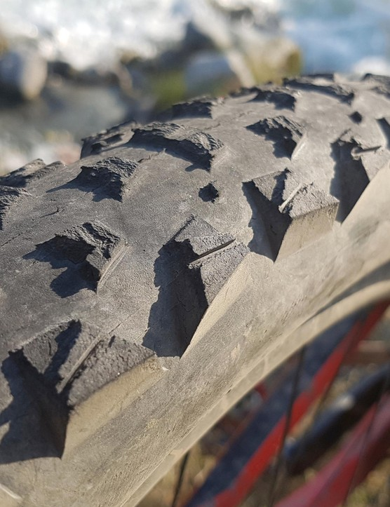 Maxxis' Tomahawk tyre was a good match for the Alps, but won't stay on the bike long in the UK — it's looking tired after a week's riding too