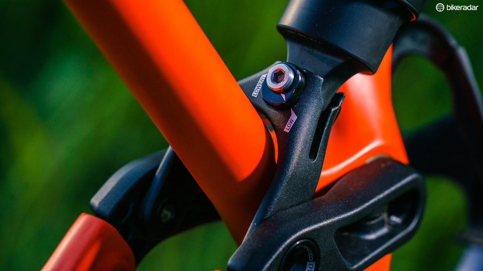 A flip-chip in the linkage gives you 7mm of bottom bracket drop adjustment and half a degree of head angle and seat angle adjustment