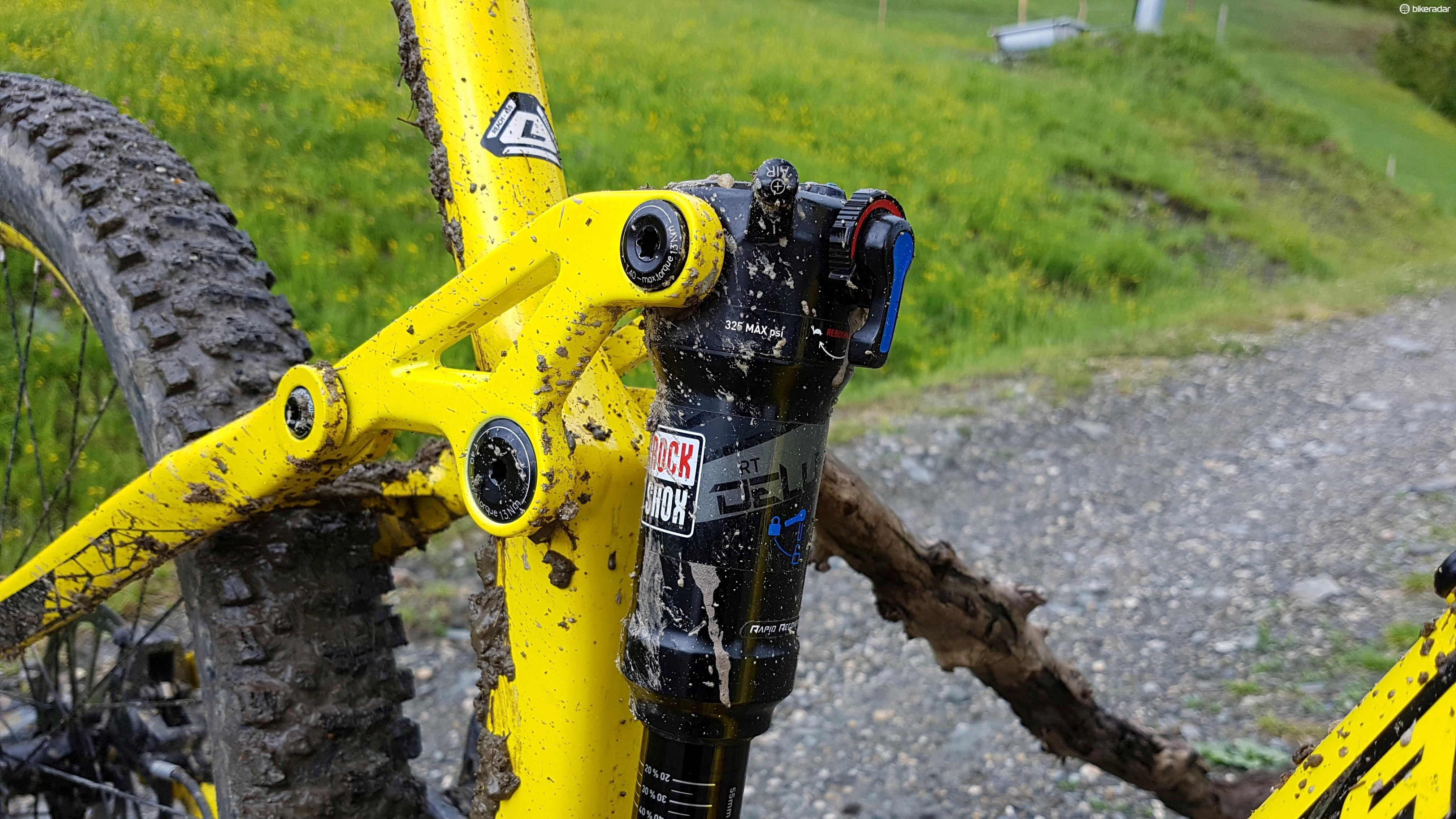 A trunnion-mounted RockShox Deluxe shock – we'll be seeing more of these appearing on bikes in the coming year