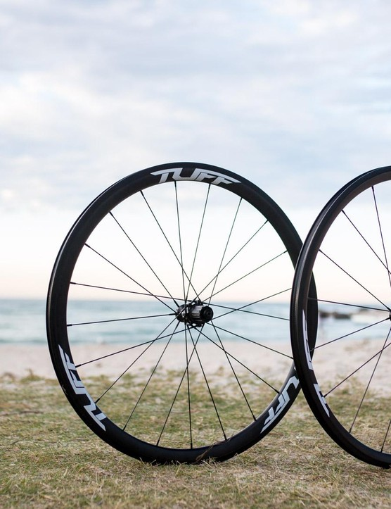 Tuff's Exo carbon clinchers are light weight, low profile, and tubeless ready