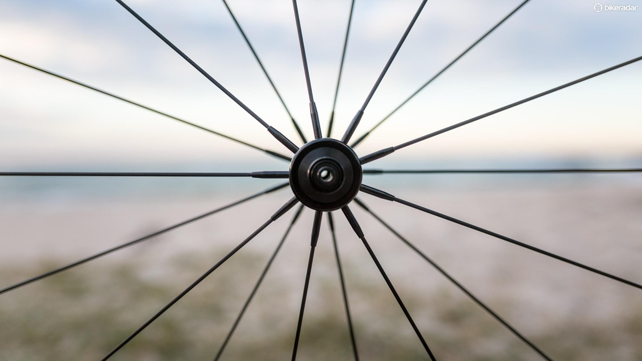 Tuff uses tensioned 2mm carbon spokes on its wheels