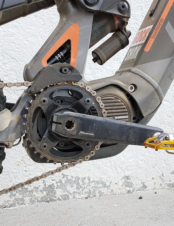 A Shimano motor is fitted with a Miranda 160mm crank for better ground clearance and spin-ability