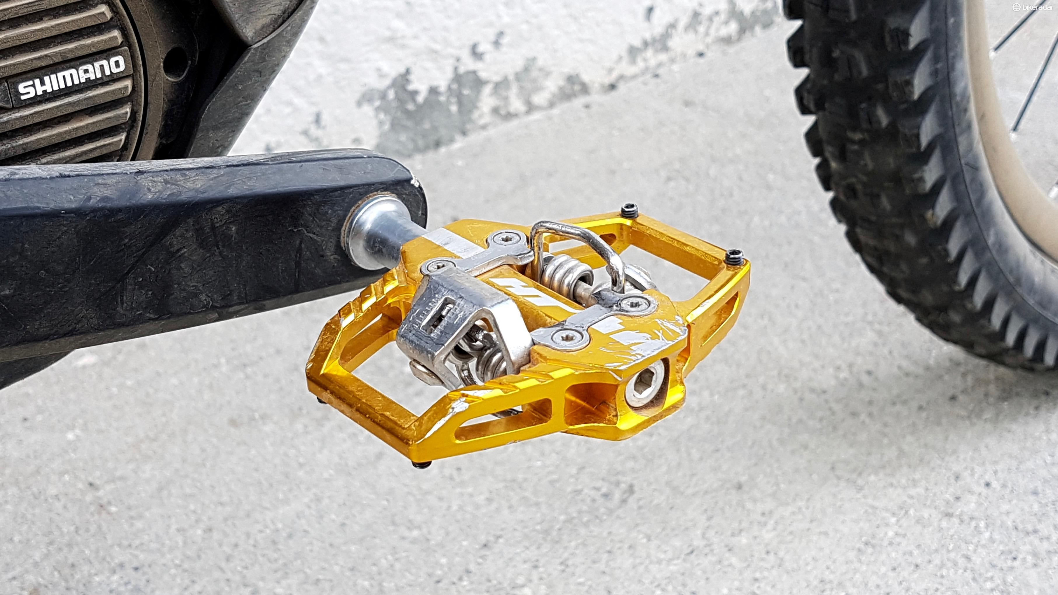 HT T1 pedals are Nico's preferred option, feeling somewhere between Shimano and Crank Bros