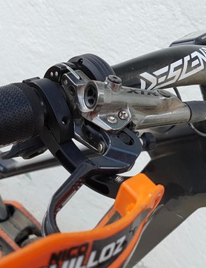 XTR Trail brakes don't quite give the power he's after — Saints will be fitted soon