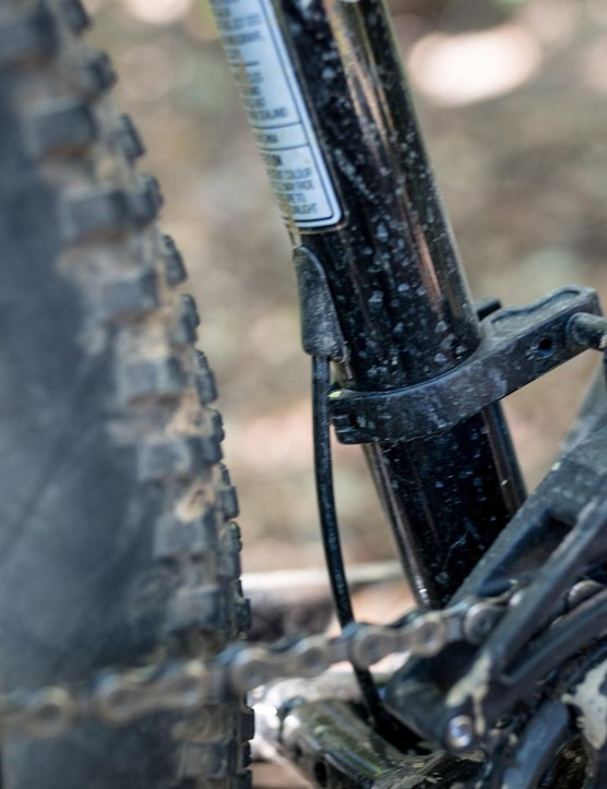 The X-Fusion dropper has an internal remote, so the cable only enters the frame on the back side of the seat tube