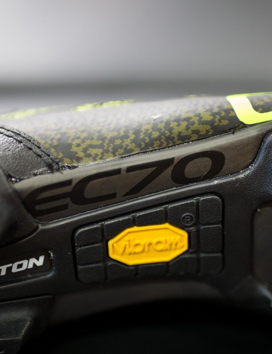 Vibram rubber adds grippy traction over the carbon Easton outsole