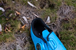 There is also a lip and aggressive shaping on the inside of the heel cup to keep your foot planted