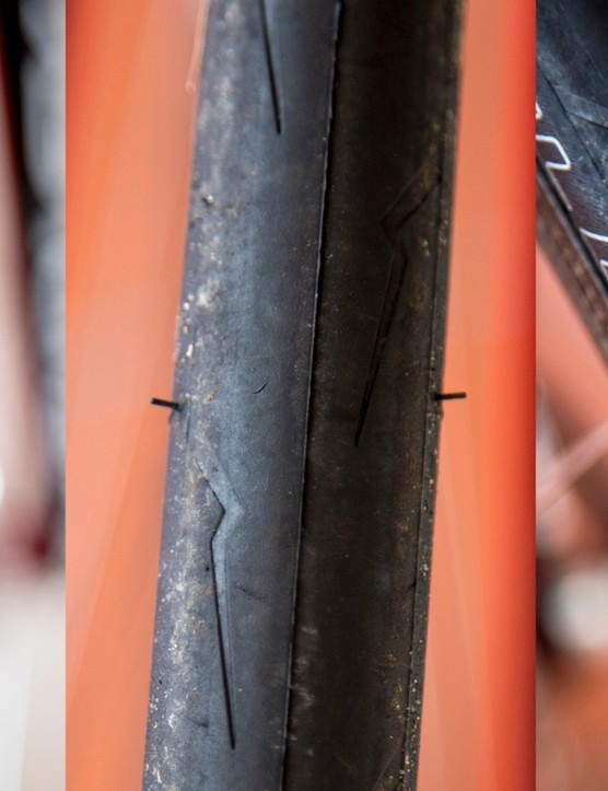We were a bit surprised to see the PZero tread cut the way it did. It's worth noting that in these photos the tyres still had the vent spew hairs and the crease from the mould hadn't yet worn away