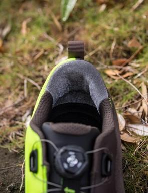 One way silver thread lines the heel to prevent heel slip