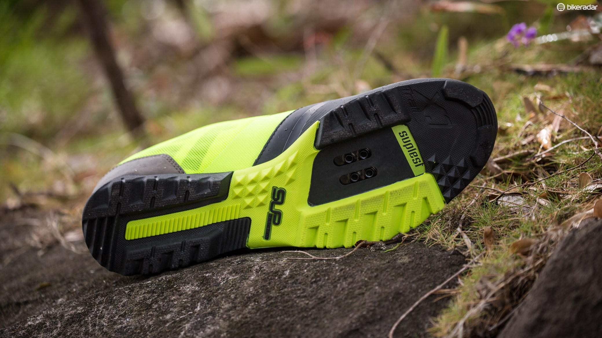 The tread depth is moderate and purchase is good