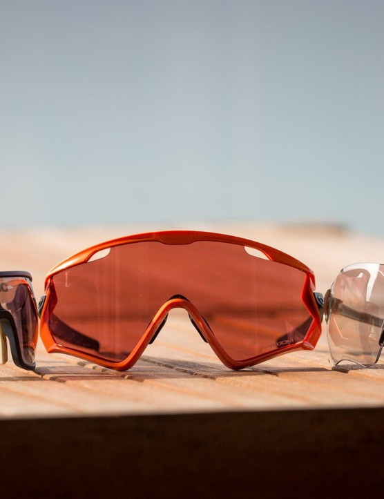 The Windjackets dwarf the POC DO Blades (left) and Oakley EV Zero Path (right)